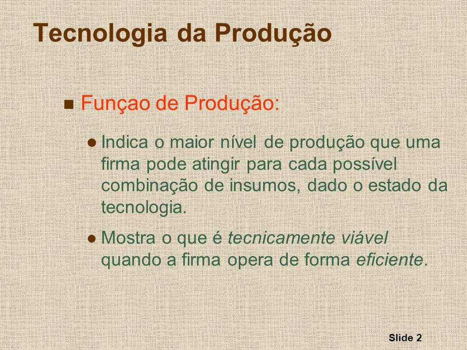 Slide 2 Tecnologia da Produção Funçao de Produção: Indica o maior nível de produção que uma firma pode atingir para cada possível combinação de insumo