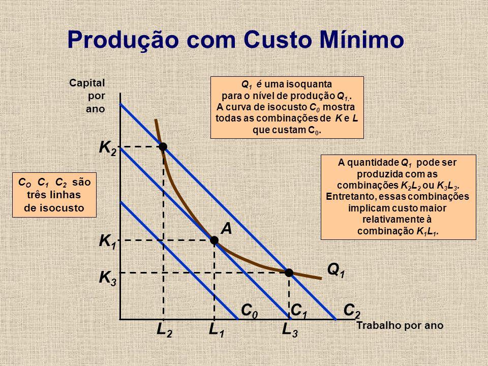 Produção com Custo Mínimo Trabalho por ano Capital por ano A quantidade Q 1 pode ser produzida com as combinações K 2 L 2 ou K 3 L 3. Entretanto, essa
