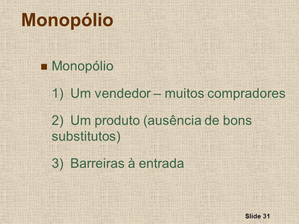Slide 31 Monopólio 1) Um vendedor – muitos compradores 2)Um produto (ausência de bons substitutos) 3)Barreiras à entrada
