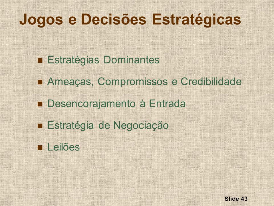 Slide 43 Jogos e Decisões Estratégicas Estratégias Dominantes Ameaças, Compromissos e Credibilidade Desencorajamento à Entrada Estratégia de Negociaçã