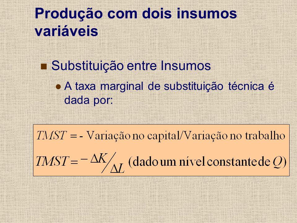 Substituição entre Insumos A taxa marginal de substituição técnica é dada por: Produção com dois insumos variáveis