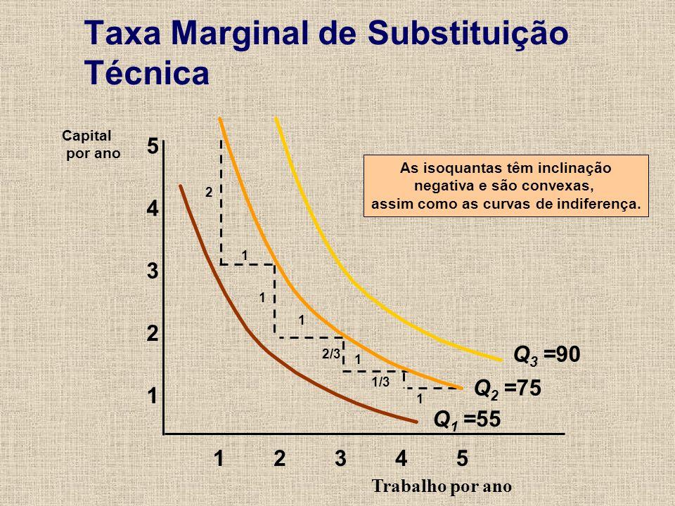 Taxa Marginal de Substituição Técnica Trabalho por ano 1 2 3 4 12345 5 Capital por ano As isoquantas têm inclinação negativa e são convexas, assim com