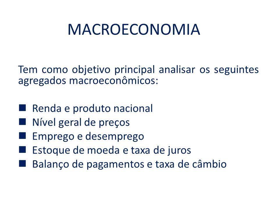MACROECONOMIA Tem como objetivo principal analisar os seguintes agregados macroeconômicos: Renda e produto nacional Nível geral de preços Emprego e de