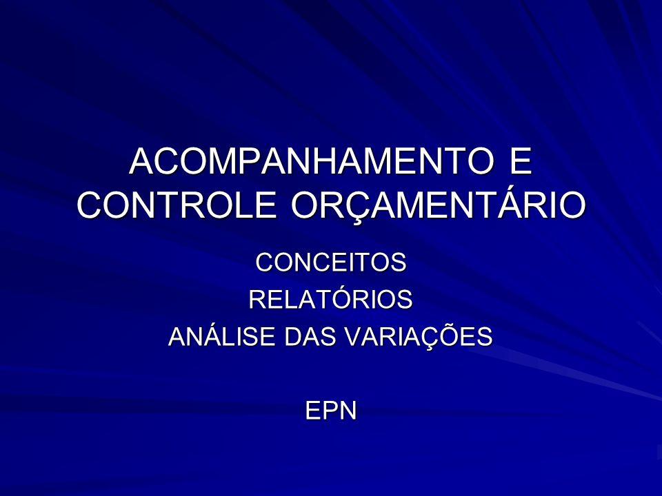 ACOMPANHAMENTO E CONTROLE ORÇAMENTÁRIO CONCEITOS Os objetivos principais do controle orçamentário são: Os objetivos principais do controle orçamentário são: - identificar e analisar as variações ocorridas - identificar e analisar as variações ocorridas - corrigir erros detectados - corrigir erros detectados - Ajustar o plano orçamentário, para garantir o processo de otimização do resultado e eficácia empresarial.
