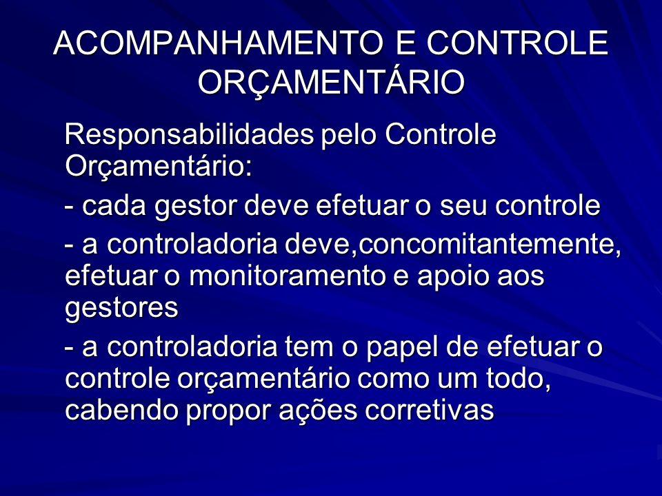 ACOMPANHAMENTO E CONTROLE ORÇAMENTÁRIO Responsabilidades pelo Controle Orçamentário: Responsabilidades pelo Controle Orçamentário: - cada gestor deve