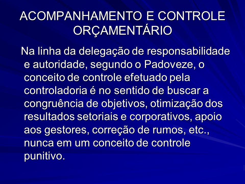 ACOMPANHAMENTO E CONTROLE ORÇAMENTÁRIO Na linha da delegação de responsabilidade e autoridade, segundo o Padoveze, o conceito de controle efetuado pel