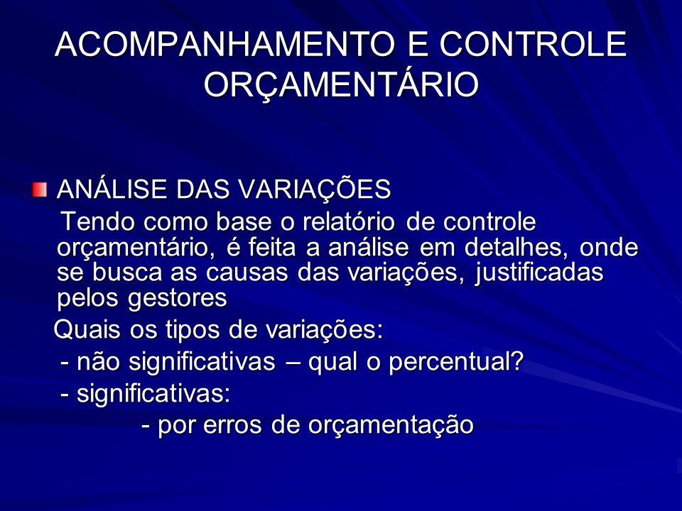 ACOMPANHAMENTO E CONTROLE ORÇAMENTÁRIO - por decisões não controláveis - por decisões não controláveis - por decisões administrativas - por decisões administrativas
