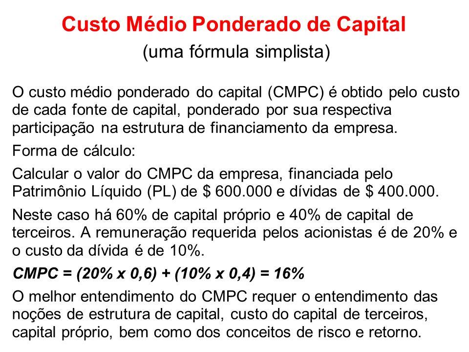 Custo Médio Ponderado de Capital (uma fórmula simplista) O custo médio ponderado do capital (CMPC) é obtido pelo custo de cada fonte de capital, ponderado por sua respectiva participação na estrutura de financiamento da empresa.