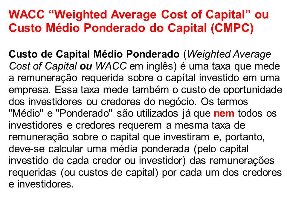 WACC Weighted Average Cost of Capital ou Custo Médio Ponderado do Capital (CMPC) Custo de Capital Médio Ponderado (Weighted Average Cost of Capital ou