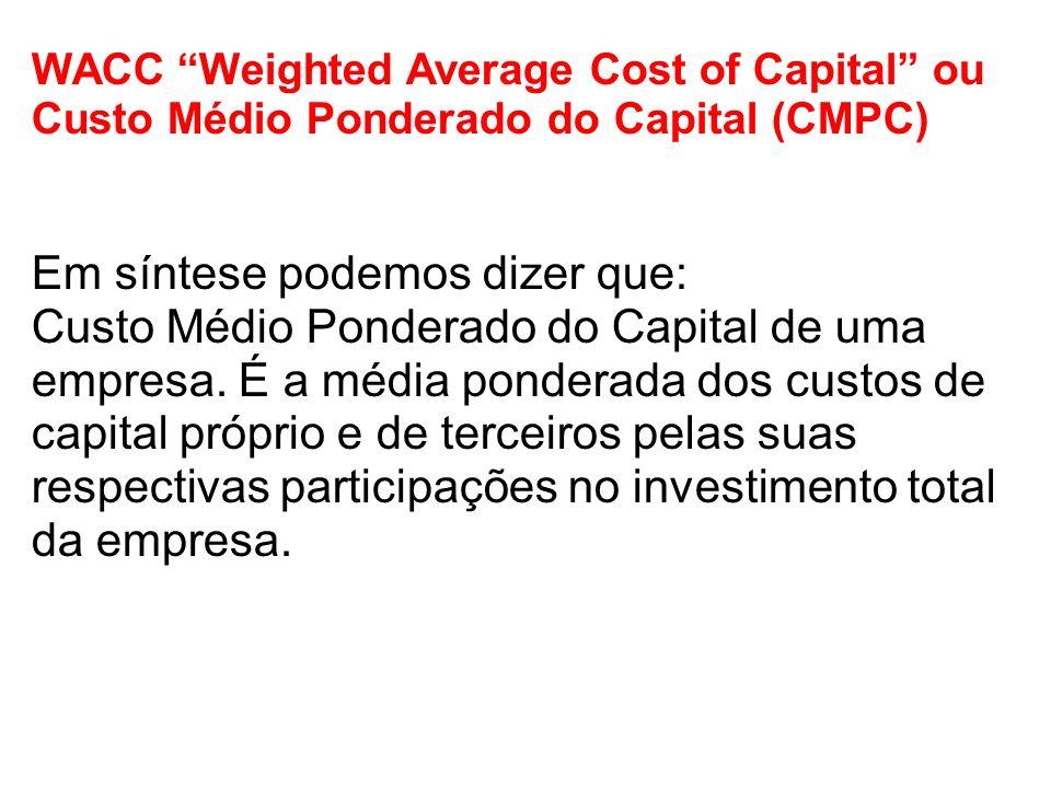 WACC Weighted Average Cost of Capital ou Custo Médio Ponderado do Capital (CMPC) Em síntese podemos dizer que: Custo Médio Ponderado do Capital de uma empresa.
