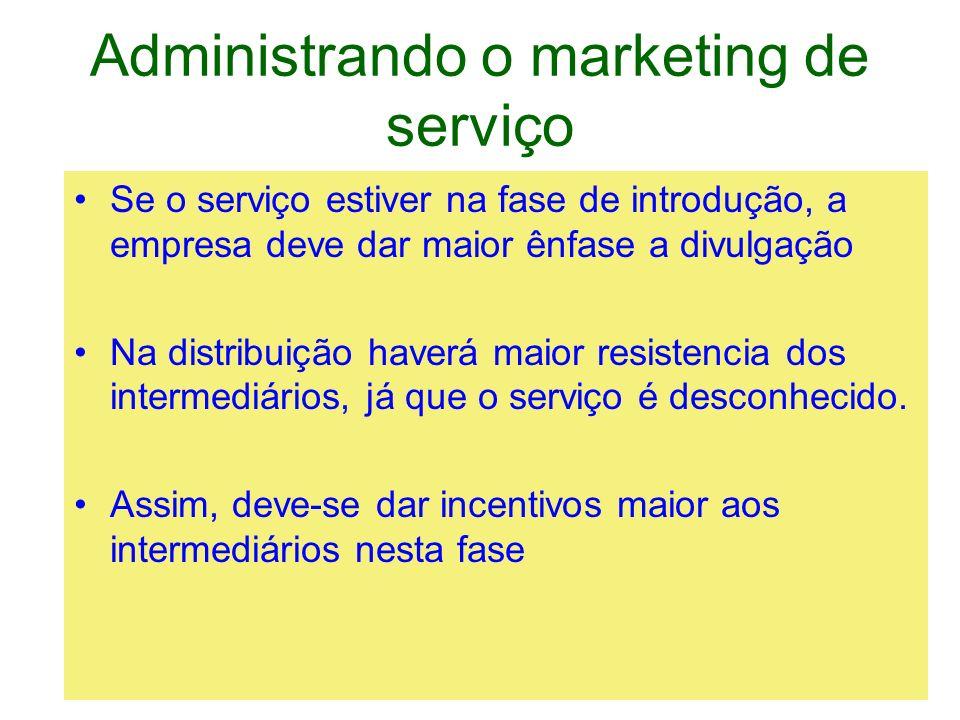 Administrando o marketing de serviço Se o serviço estiver na fase de introdução, a empresa deve dar maior ênfase a divulgação Na distribuição haverá m