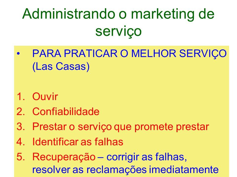 Administrando o marketing de serviço PARA PRATICAR O MELHOR SERVIÇO (Las Casas) 1.Ouvir 2.Confiabilidade 3.Prestar o serviço que promete prestar 4.Ide