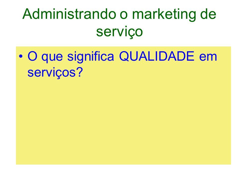 Administrando o marketing de serviço Está ligada a SATISFAÇÃO Pode ser –a solução de um problema –Atendimento de uma necessidade –Atendimento de qualquer outra expectativa