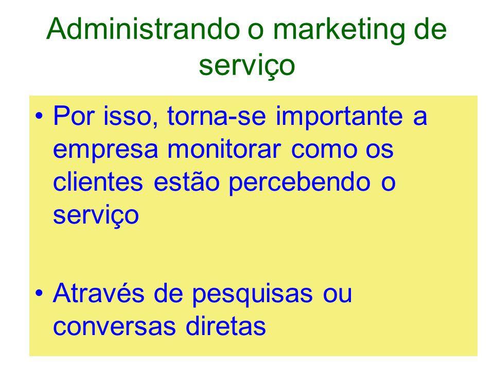 Administrando o marketing de serviço Por isso, torna-se importante a empresa monitorar como os clientes estão percebendo o serviço Através de pesquisa