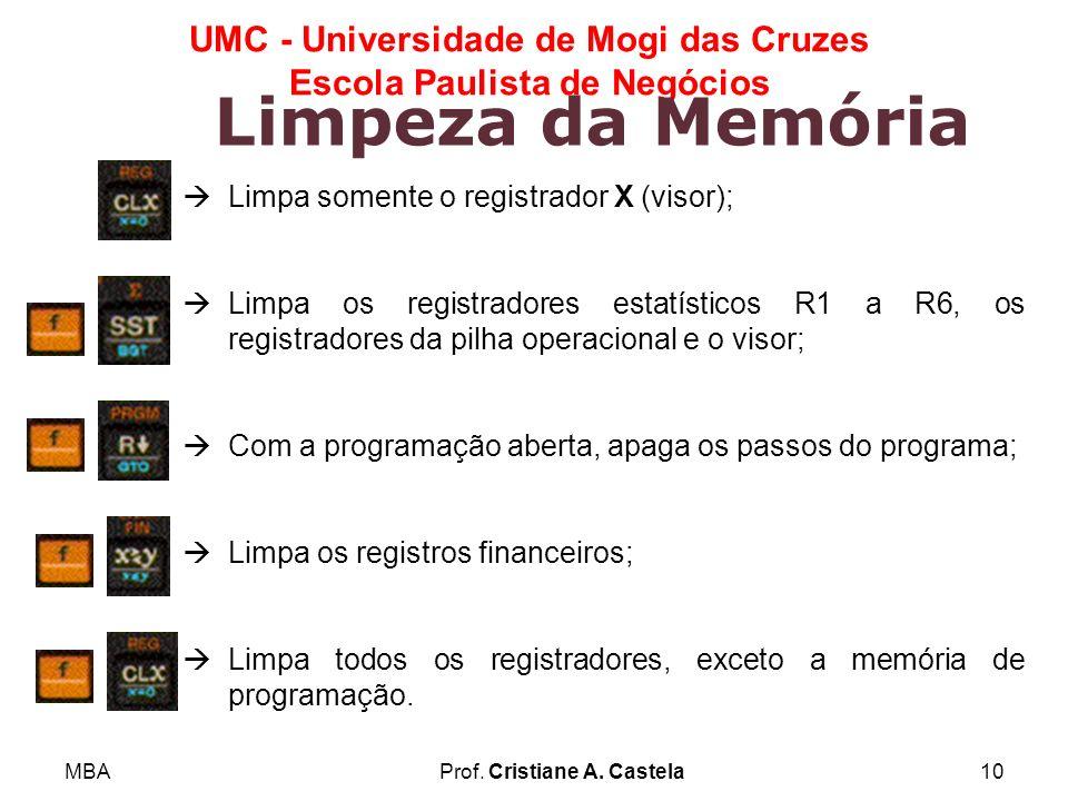 MBAProf. Cristiane A. Castela10 UMC - Universidade de Mogi das Cruzes Escola Paulista de Negócios Limpeza da Memória Limpa somente o registrador X (vi