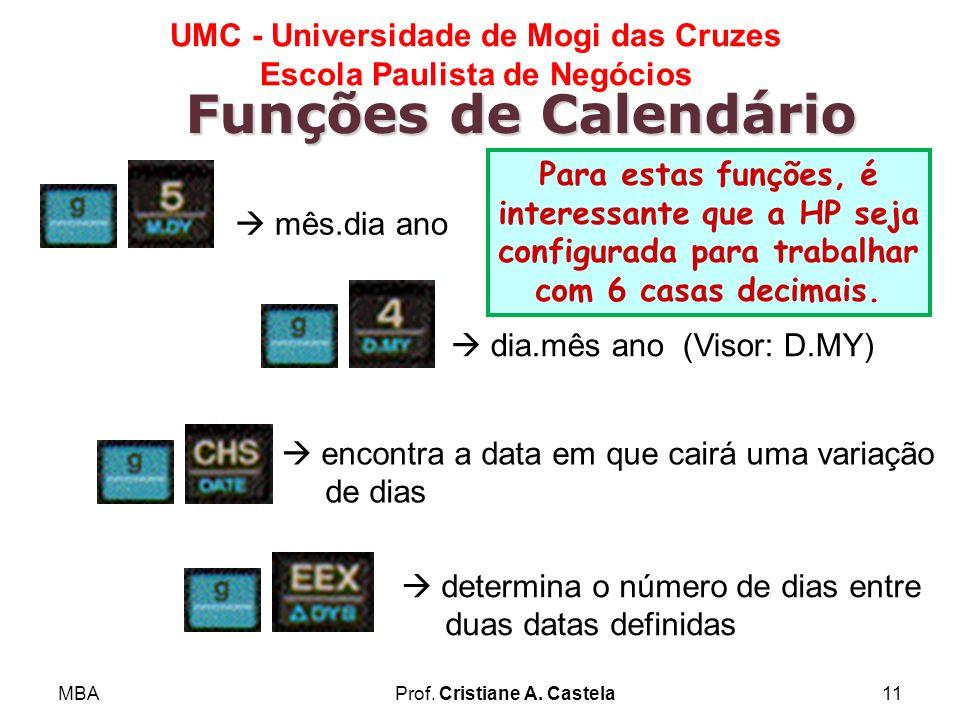 MBAProf. Cristiane A. Castela11 UMC - Universidade de Mogi das Cruzes Escola Paulista de Negócios Funções de Calendário mês.dia ano dia.mês ano (Visor