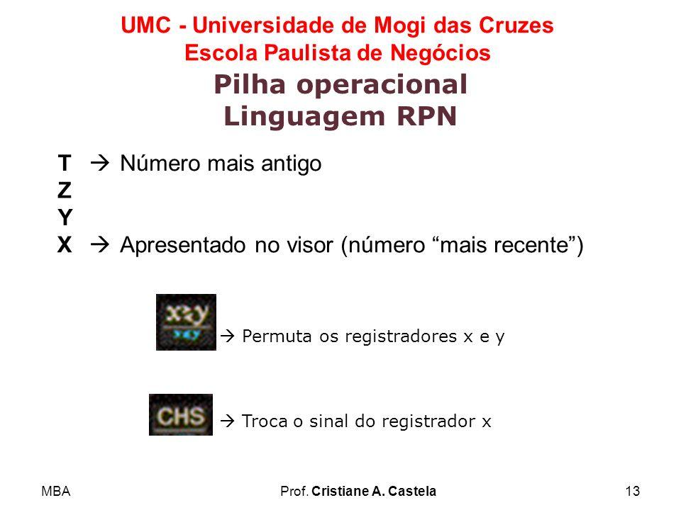 MBAProf. Cristiane A. Castela13 UMC - Universidade de Mogi das Cruzes Escola Paulista de Negócios Pilha operacional Linguagem RPN T Número mais antigo