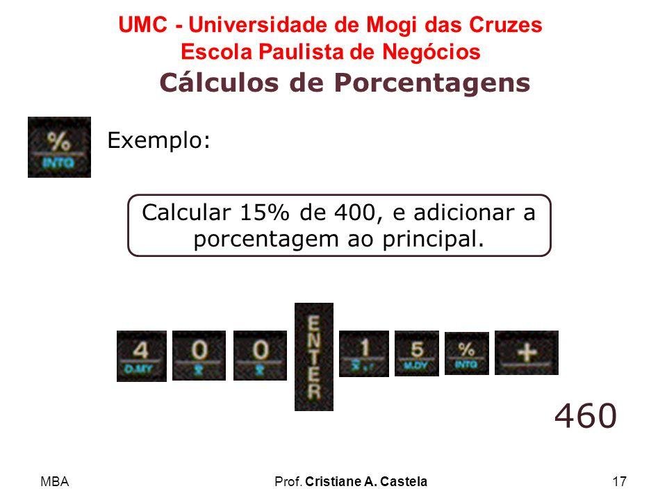 MBAProf. Cristiane A. Castela17 UMC - Universidade de Mogi das Cruzes Escola Paulista de Negócios Cálculos de Porcentagens Calcular 15% de 400, e adic