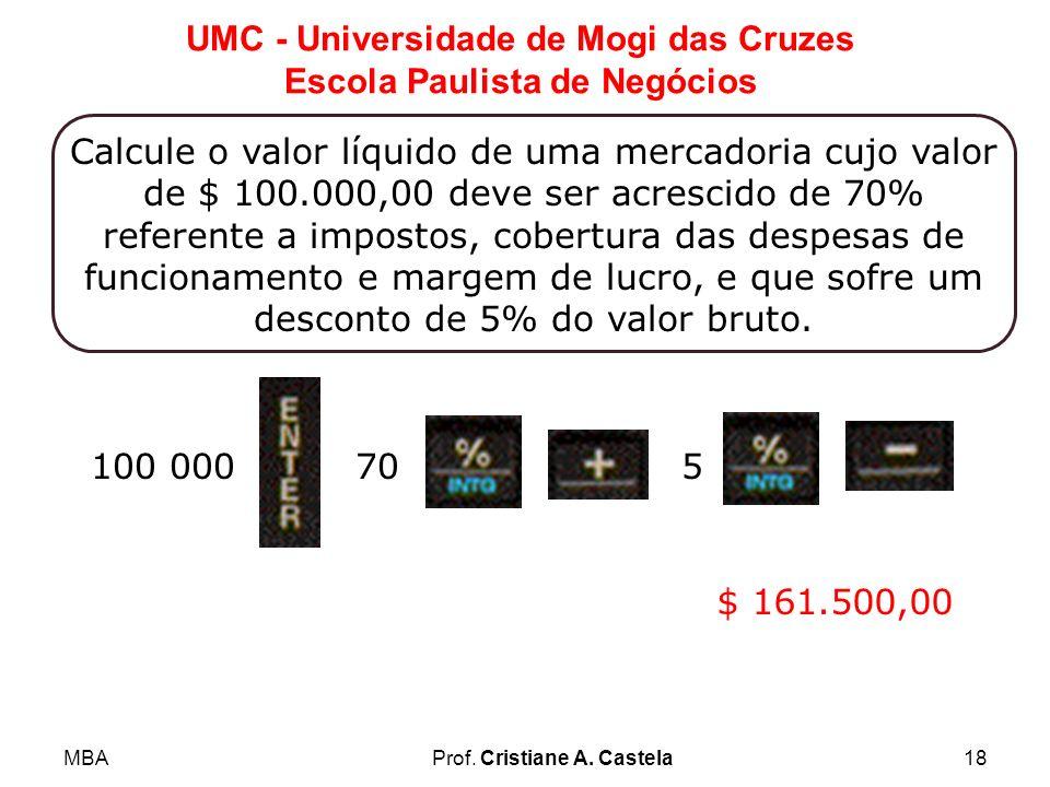 MBAProf. Cristiane A. Castela18 UMC - Universidade de Mogi das Cruzes Escola Paulista de Negócios Calcule o valor líquido de uma mercadoria cujo valor