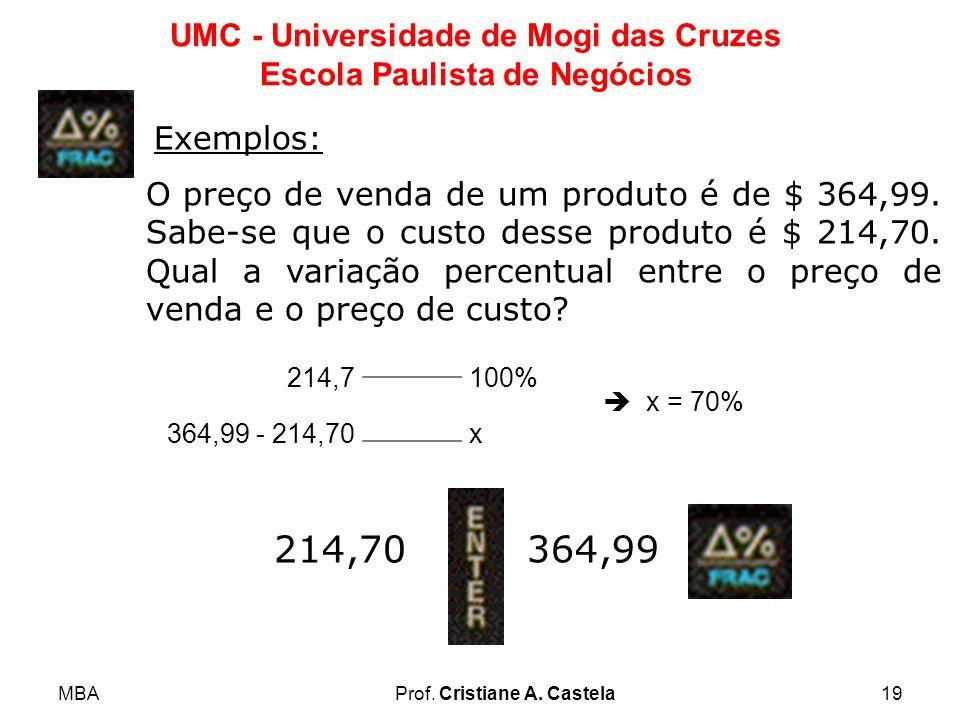 MBAProf. Cristiane A. Castela19 UMC - Universidade de Mogi das Cruzes Escola Paulista de Negócios Exemplos: O preço de venda de um produto é de $ 364,