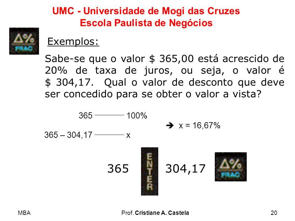 MBAProf. Cristiane A. Castela20 UMC - Universidade de Mogi das Cruzes Escola Paulista de Negócios Exemplos: Sabe-se que o valor $ 365,00 está acrescid