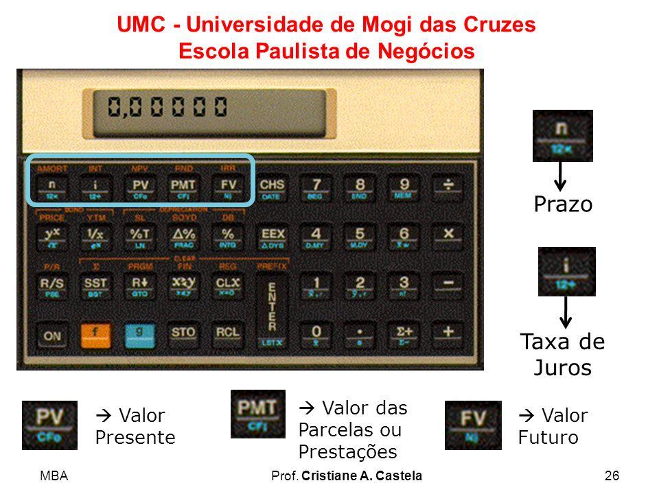 MBAProf. Cristiane A. Castela26 UMC - Universidade de Mogi das Cruzes Escola Paulista de Negócios Prazo Taxa de Juros Valor Presente Valor das Parcela