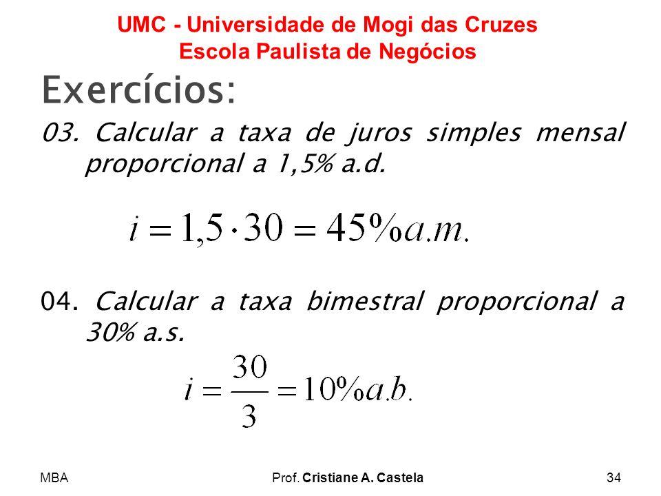 MBAProf. Cristiane A. Castela34 UMC - Universidade de Mogi das Cruzes Escola Paulista de Negócios Exercícios: 03. Calcular a taxa de juros simples men