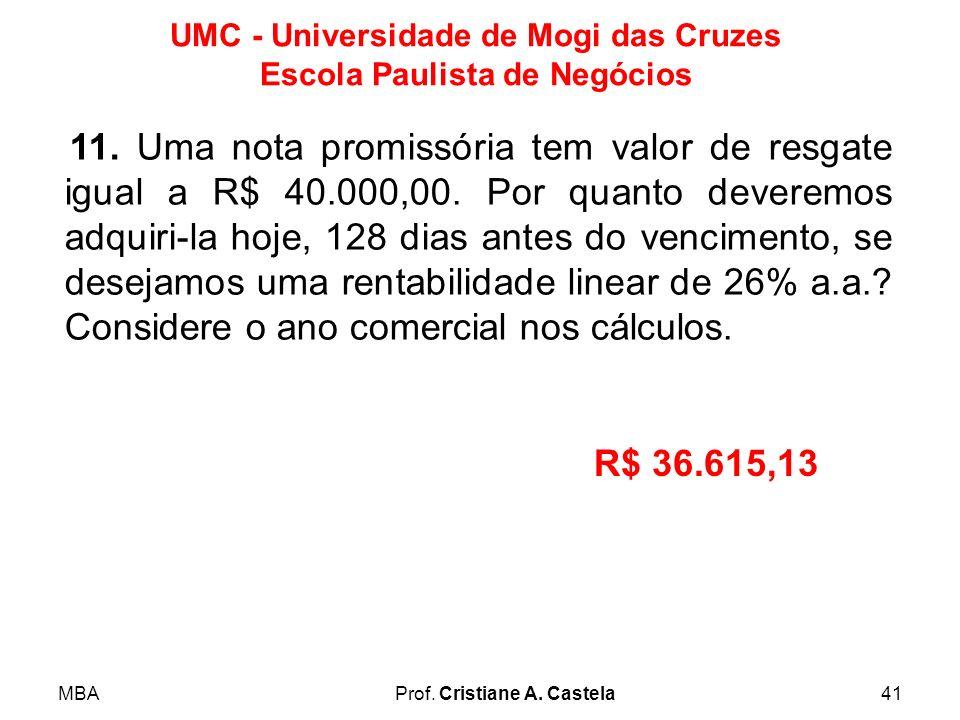 MBAProf. Cristiane A. Castela41 UMC - Universidade de Mogi das Cruzes Escola Paulista de Negócios 11. Uma nota promissória tem valor de resgate igual
