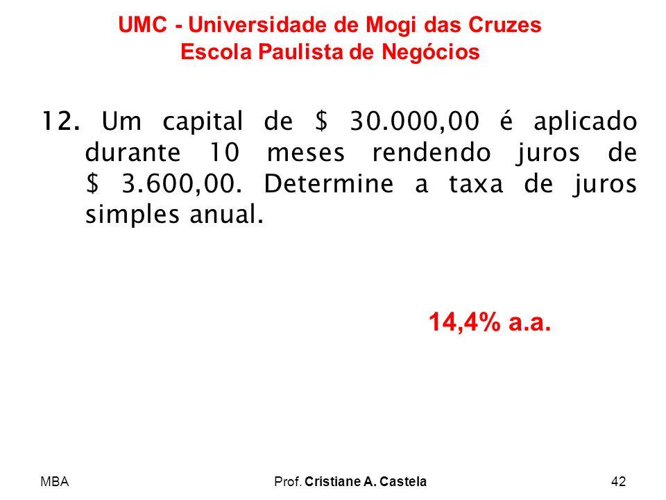 MBAProf. Cristiane A. Castela42 UMC - Universidade de Mogi das Cruzes Escola Paulista de Negócios 12. Um capital de $ 30.000,00 é aplicado durante 10