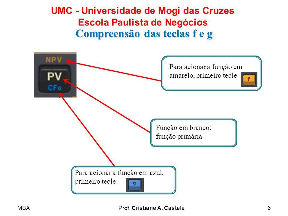 MBAProf. Cristiane A. Castela6 UMC - Universidade de Mogi das Cruzes Escola Paulista de Negócios Compreensão das teclas f e g Par Para acionar a funçã
