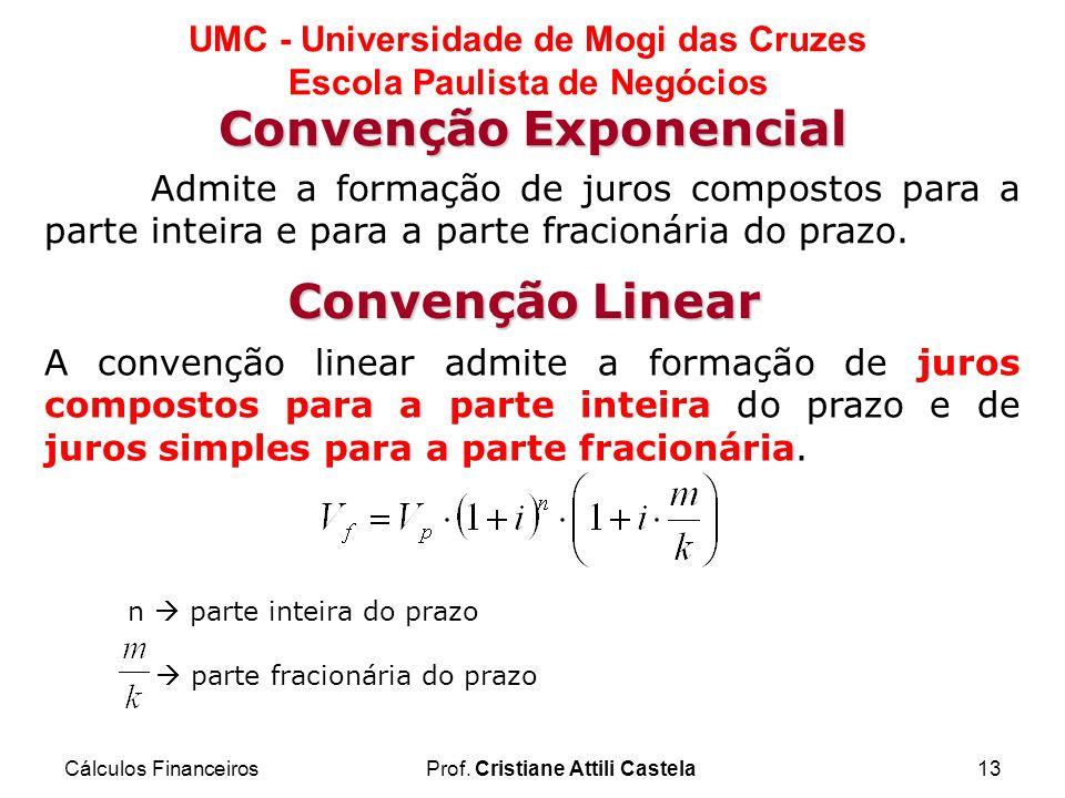 Cálculos FinanceirosProf. Cristiane Attili Castela13 UMC - Universidade de Mogi das Cruzes Escola Paulista de Negócios 13 Convenção Exponencial A conv