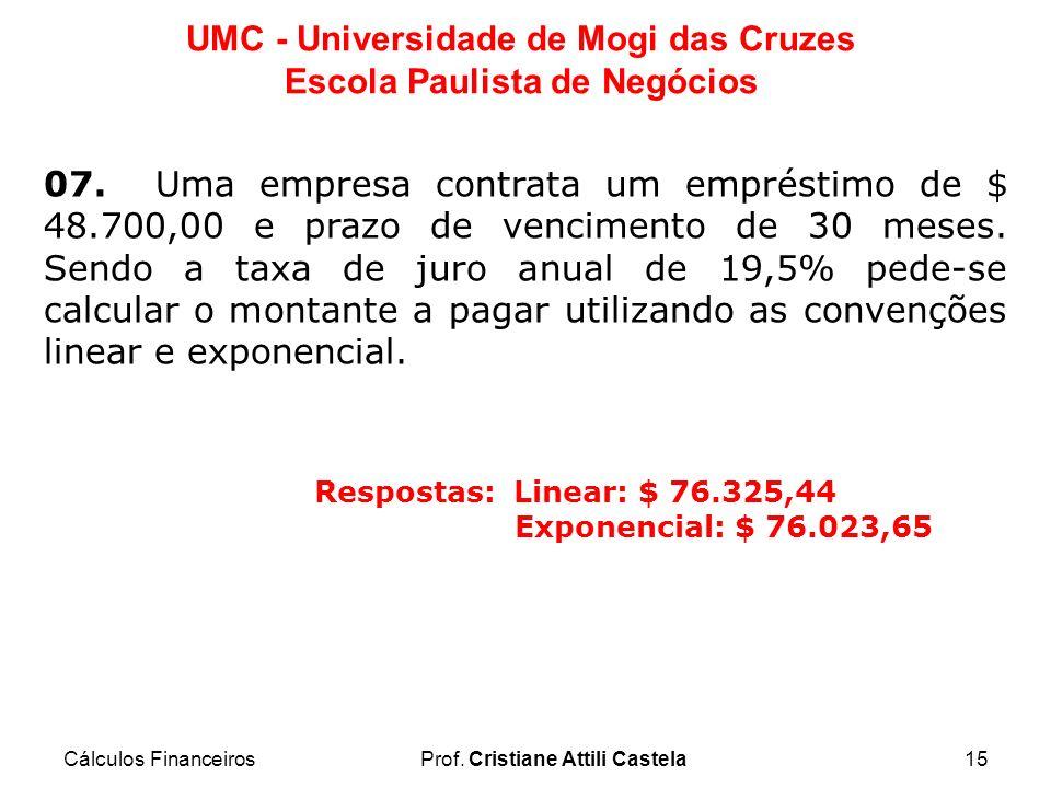 Cálculos FinanceirosProf. Cristiane Attili Castela15 UMC - Universidade de Mogi das Cruzes Escola Paulista de Negócios 07. Uma empresa contrata um emp
