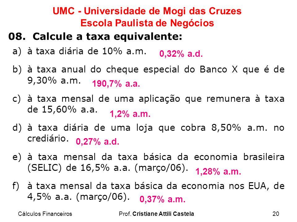 Cálculos FinanceirosProf. Cristiane Attili Castela20 UMC - Universidade de Mogi das Cruzes Escola Paulista de Negócios 08. Calcule a taxa equivalente: