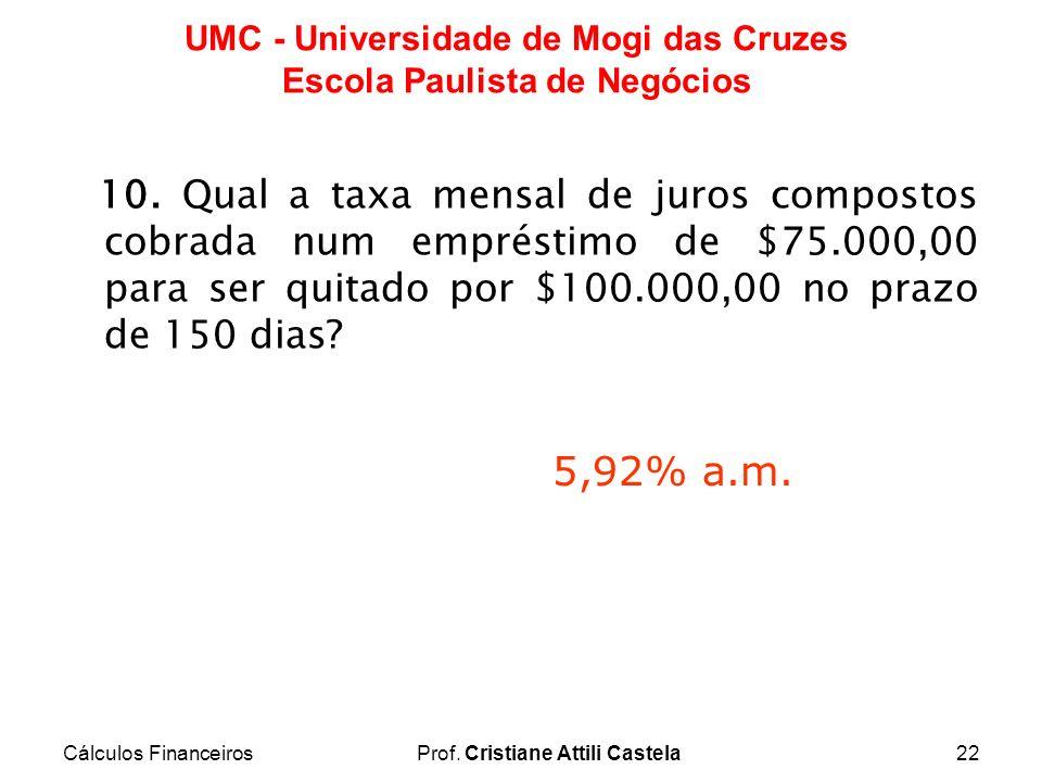 Cálculos FinanceirosProf. Cristiane Attili Castela22 UMC - Universidade de Mogi das Cruzes Escola Paulista de Negócios 10. Qual a taxa mensal de juros