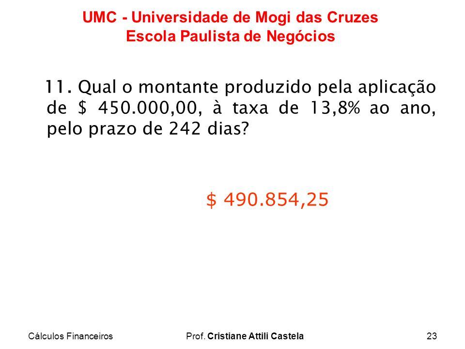 Cálculos FinanceirosProf. Cristiane Attili Castela23 UMC - Universidade de Mogi das Cruzes Escola Paulista de Negócios 11. Qual o montante produzido p