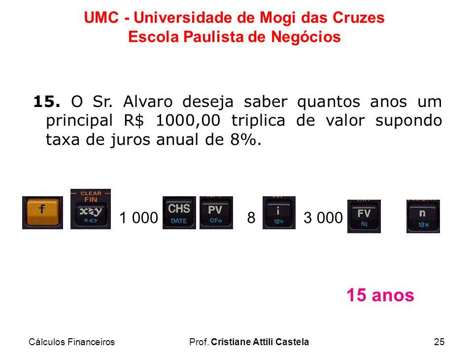 Cálculos FinanceirosProf. Cristiane Attili Castela25 UMC - Universidade de Mogi das Cruzes Escola Paulista de Negócios 15. O Sr. Alvaro deseja saber q
