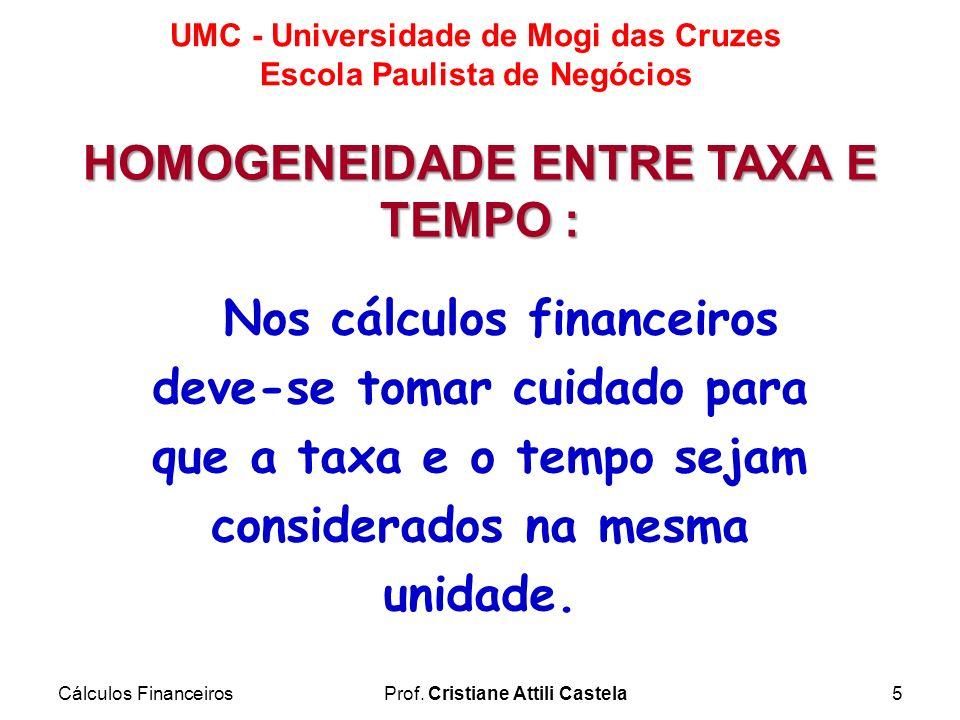 Cálculos FinanceirosProf. Cristiane Attili Castela5 UMC - Universidade de Mogi das Cruzes Escola Paulista de Negócios Nos cálculos financeiros deve-se