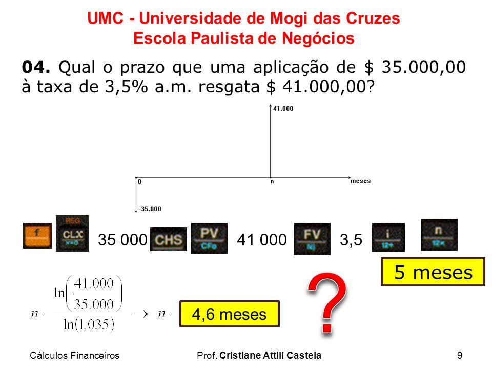 Cálculos FinanceirosProf. Cristiane Attili Castela9 UMC - Universidade de Mogi das Cruzes Escola Paulista de Negócios 04. Qual o prazo que uma aplicaç