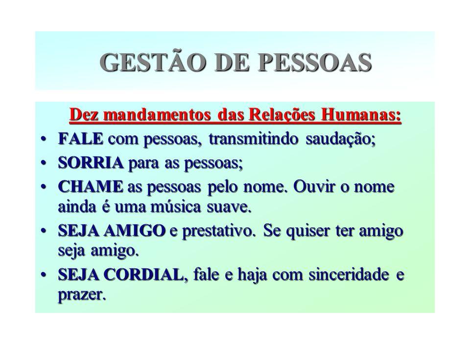 GESTÃO DE PESSOAS Dez mandamentos das Relações Humanas: FALE com pessoas, transmitindo saudação; SORRIA para as pessoas; CHAME as pessoas pelo nome. O