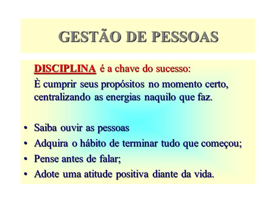 GESTÃO DE PESSOAS DISCIPLINA é a chave do sucesso: È cumprir seus propósitos no momento certo, centralizando as energias naquilo que faz. Saiba ouvir