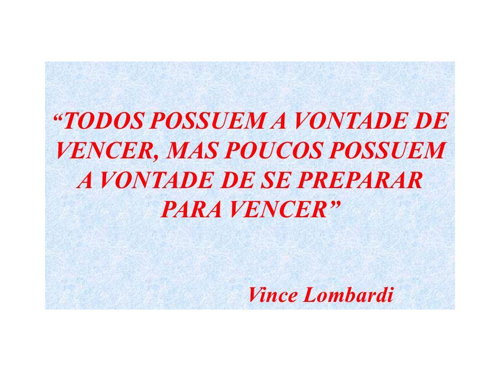 TODOS POSSUEM A VONTADE DE VENCER, MAS POUCOS POSSUEM A VONTADE DE SE PREPARAR PARA VENCER Vince Lombardi