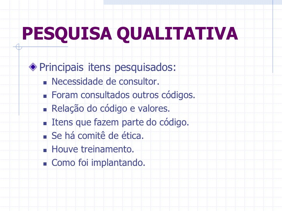PESQUISA QUALITATIVA Principais itens pesquisados: Necessidade de consultor. Foram consultados outros códigos. Relação do código e valores. Itens que
