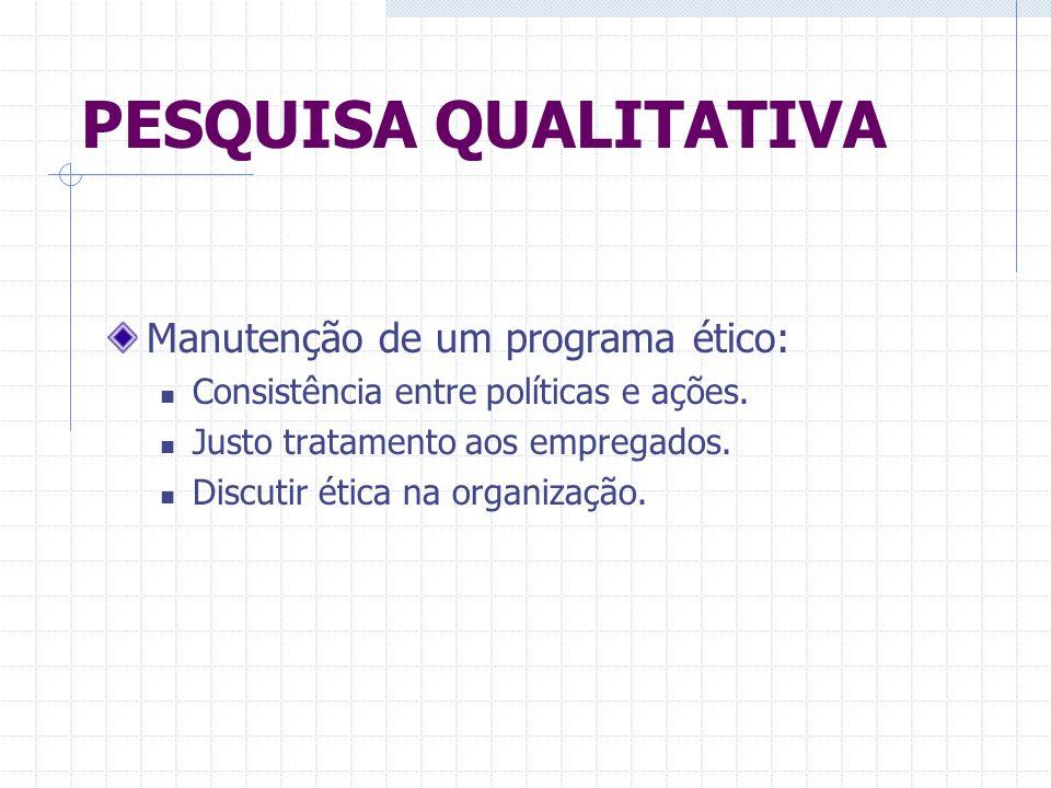 PESQUISA QUALITATIVA Manutenção de um programa ético: Consistência entre políticas e ações. Justo tratamento aos empregados. Discutir ética na organiz