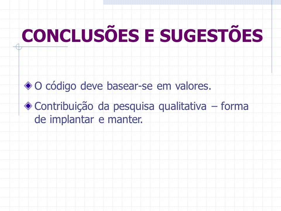 CONCLUSÕES E SUGESTÕES O código deve basear-se em valores. Contribuição da pesquisa qualitativa – forma de implantar e manter.