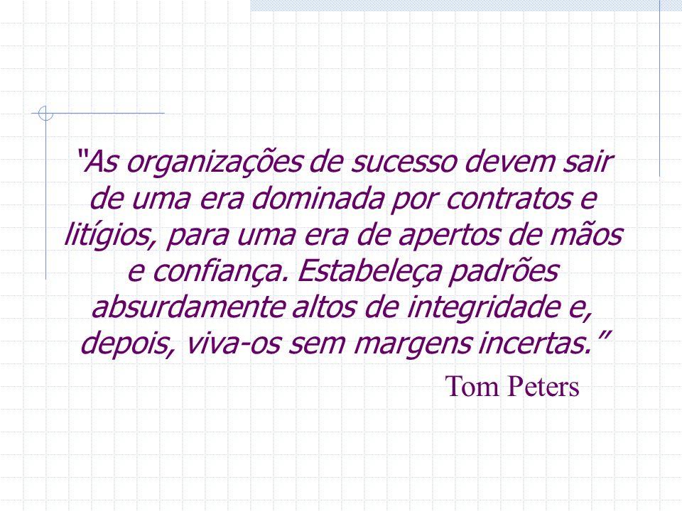 As organizações de sucesso devem sair de uma era dominada por contratos e litígios, para uma era de apertos de mãos e confiança. Estabeleça padrões ab