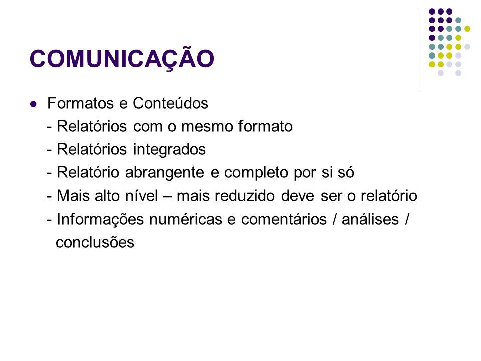 COMUNICAÇÃO Formatos e Conteúdos - Relatórios com o mesmo formato - Relatórios integrados - Relatório abrangente e completo por si só - Mais alto níve
