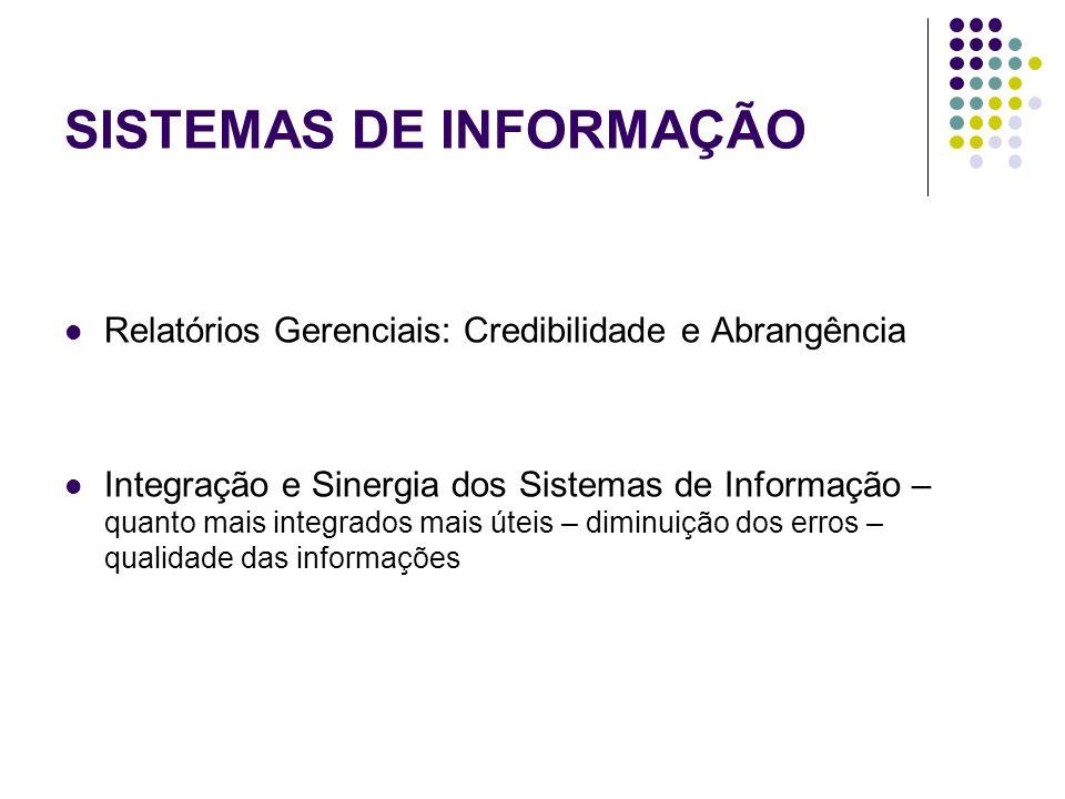 SISTEMAS DE INFORMAÇÃO Relatórios Gerenciais: Credibilidade e Abrangência Integração e Sinergia dos Sistemas de Informação – quanto mais integrados ma