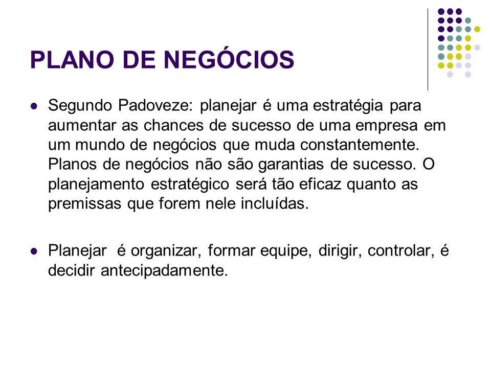 PLANO DE NEGÓCIOS Segundo Padoveze: planejar é uma estratégia para aumentar as chances de sucesso de uma empresa em um mundo de negócios que muda cons