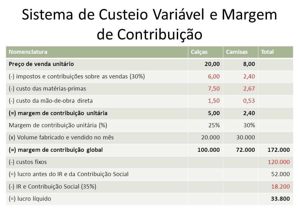 Sistema de Custeio Variável e Margem de Contribuição NomenclaturaCalçasCamisasTotal Preço de venda unitário20,008,00 (-) impostos e contribuições sobr