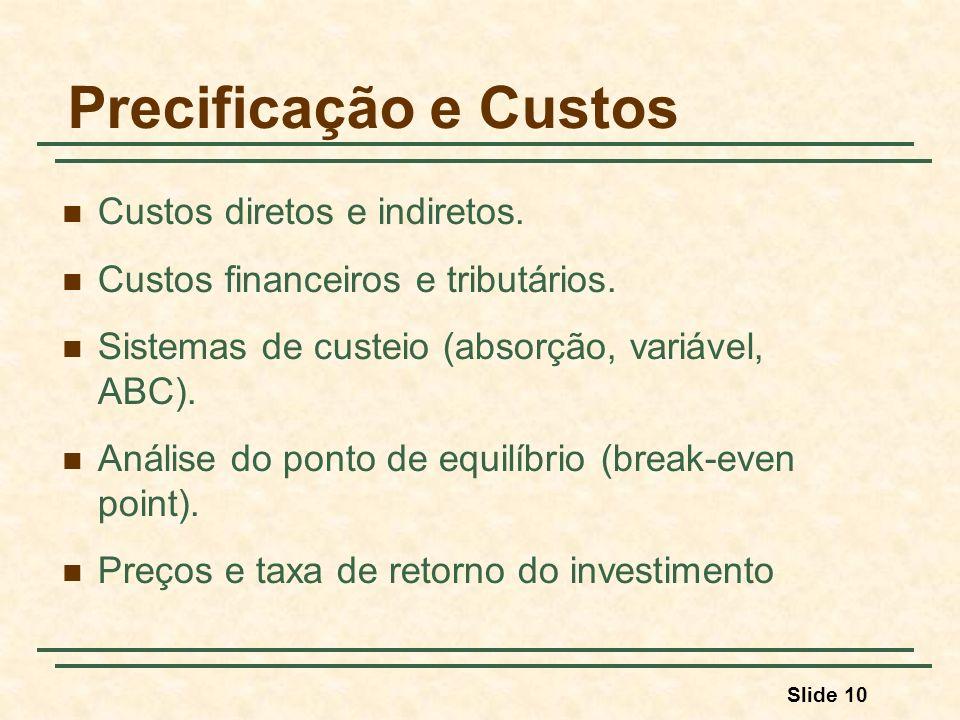 Slide 10 Precificação e Custos Custos diretos e indiretos. Custos financeiros e tributários. Sistemas de custeio (absorção, variável, ABC). Análise do